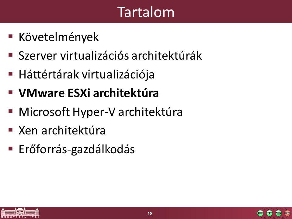 Tartalom  Követelmények  Szerver virtualizációs architektúrák  Háttértárak virtualizációja  VMware ESXi architektúra  Microsoft Hyper-V architekt