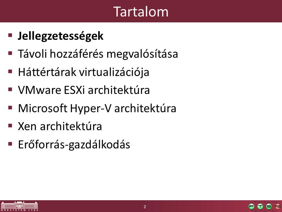 Tartalom  Jellegzetességek  Távoli hozzáférés megvalósítása  Háttértárak virtualizációja  VMware ESXi architektúra  Microsoft Hyper-V architektúr