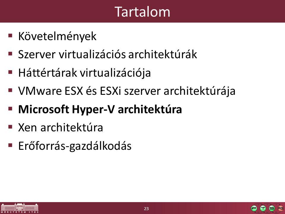 Tartalom  Követelmények  Szerver virtualizációs architektúrák  Háttértárak virtualizációja  VMware ESX és ESXi szerver architektúrája  Microsoft