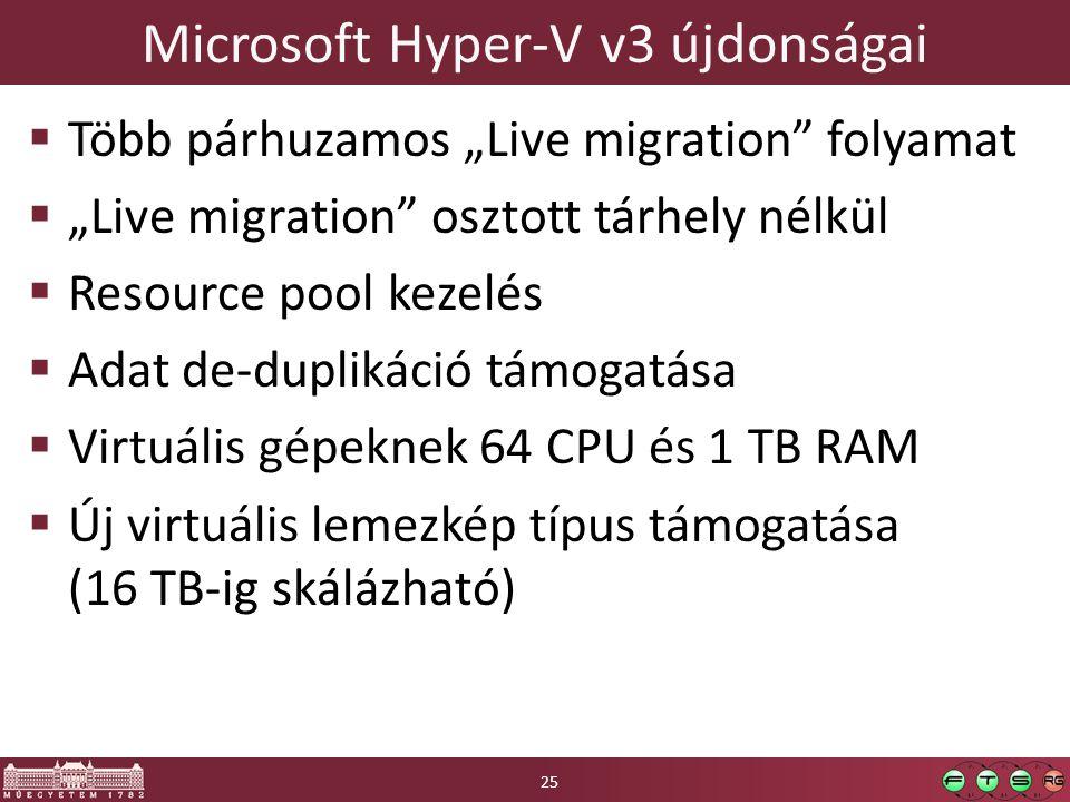 """Microsoft Hyper-V v3 újdonságai  Több párhuzamos """"Live migration"""" folyamat  """"Live migration"""" osztott tárhely nélkül  Resource pool kezelés  Adat d"""