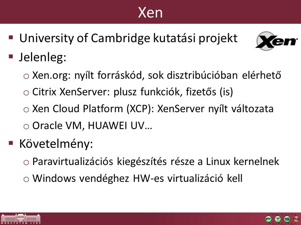 Xen  University of Cambridge kutatási projekt  Jelenleg: o Xen.org: nyílt forráskód, sok disztribúcióban elérhető o Citrix XenServer: plusz funkciók