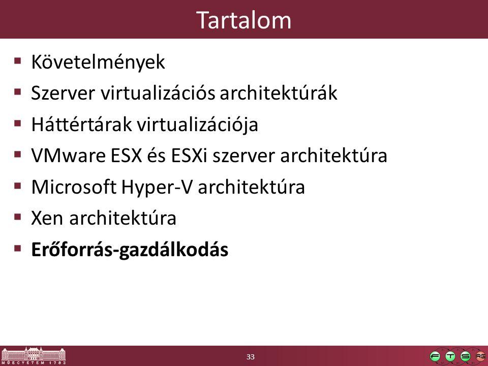 Tartalom  Követelmények  Szerver virtualizációs architektúrák  Háttértárak virtualizációja  VMware ESX és ESXi szerver architektúra  Microsoft Hy