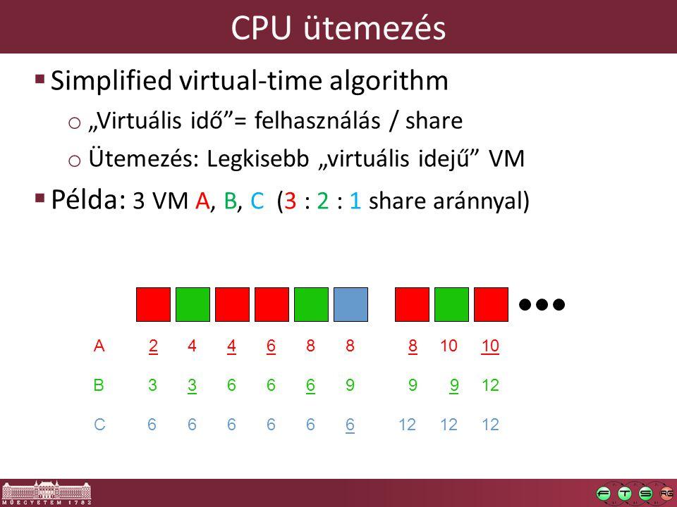 """CPU ütemezés  Simplified virtual-time algorithm o """"Virtuális idő""""= felhasználás / share o Ütemezés: Legkisebb """"virtuális idejű"""" VM  Példa: 3 VM A, B"""