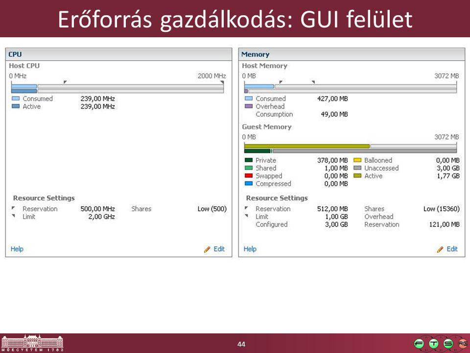 Erőforrás gazdálkodás: GUI felület 44