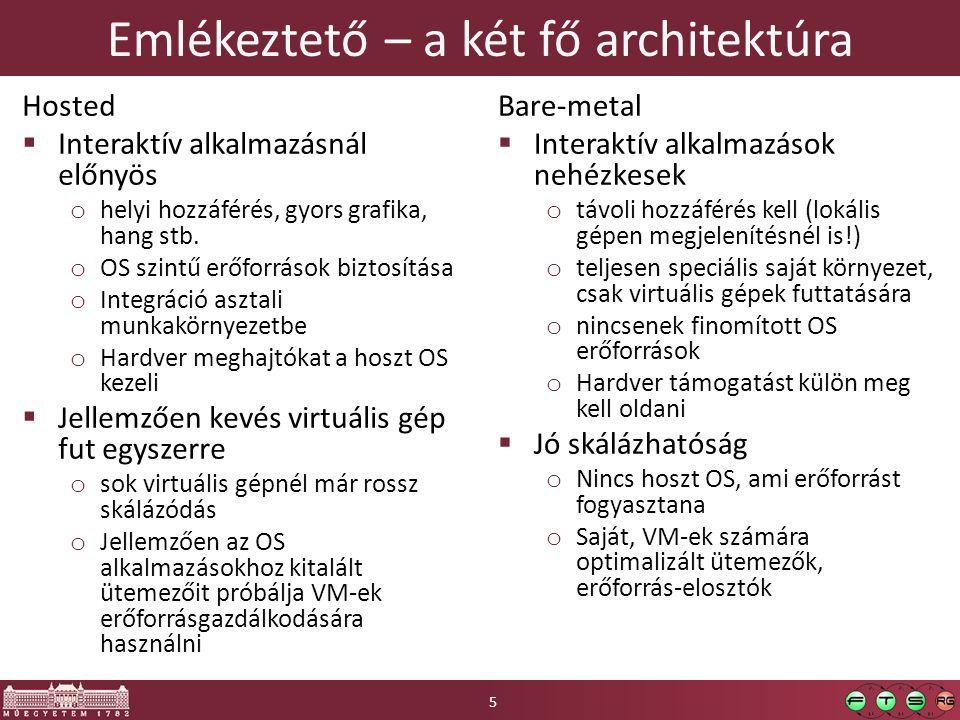 Háttértár virtualizáció  Elterjedt megoldások: o SAN – Storage Area Network, blokkos eszközt biztosít o NAS – Network Attached Storage, fájlrendszert biztosít  Példa: Egyszerűsített háttértár stack 16 ~kliens Fizikai eszköz Partíció Logikai kötet(ek) Fájlrendszer Pl.: Samba, NFS, FTP Pl.: iSCSI, AoE