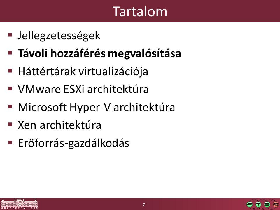 Tartalom  Követelmények  Szerver virtualizációs architektúrák  Háttértárak virtualizációja  VMware ESXi architektúra  Microsoft Hyper-V architektúra  Xen architektúra  Erőforrás-gazdálkodás 18