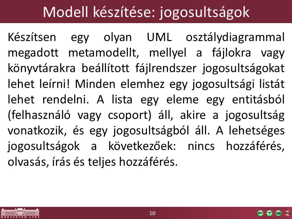 10 Modell készítése: jogosultságok Készítsen egy olyan UML osztálydiagrammal megadott metamodellt, mellyel a fájlokra vagy könyvtárakra beállított fájlrendszer jogosultságokat lehet leírni.