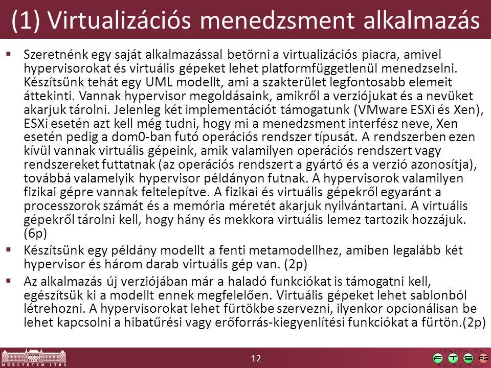 12 (1) Virtualizációs menedzsment alkalmazás  Szeretnénk egy saját alkalmazással betörni a virtualizációs piacra, amivel hypervisorokat és virtuális gépeket lehet platformfüggetlenül menedzselni.