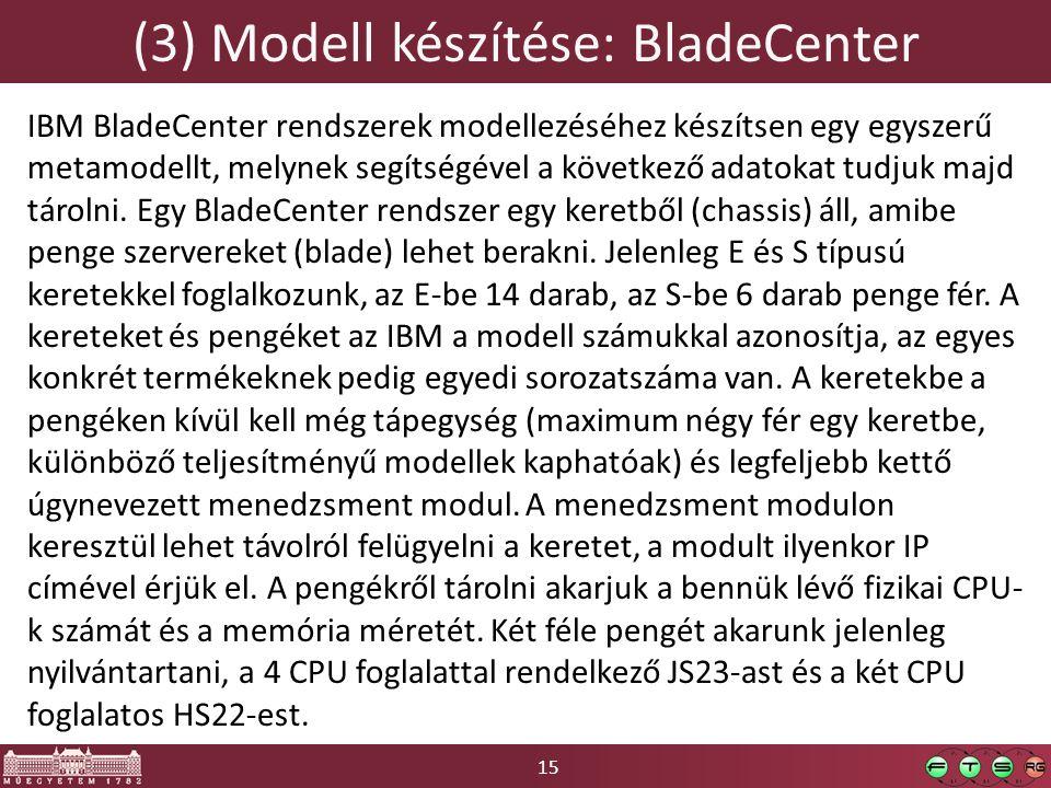 15 (3) Modell készítése: BladeCenter IBM BladeCenter rendszerek modellezéséhez készítsen egy egyszerű metamodellt, melynek segítségével a következő adatokat tudjuk majd tárolni.
