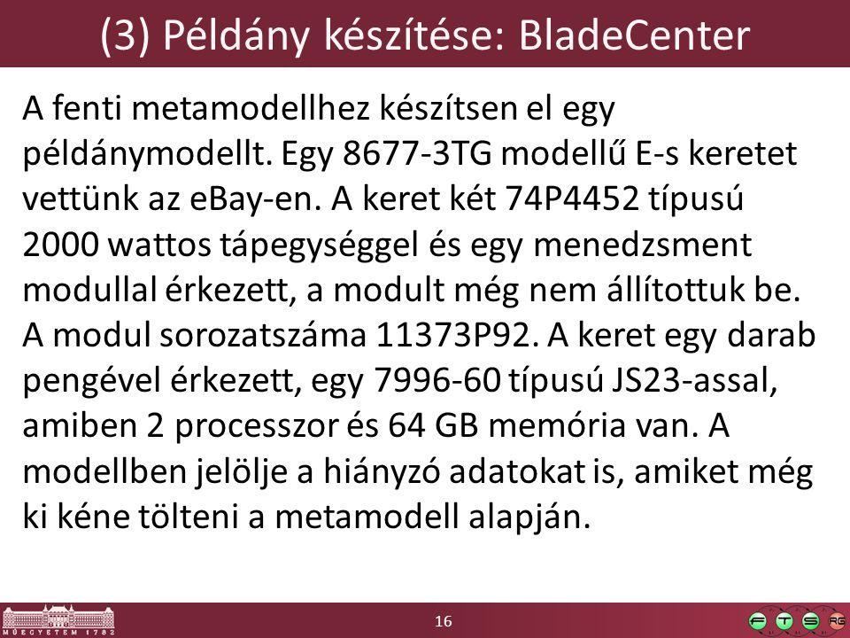16 (3) Példány készítése: BladeCenter A fenti metamodellhez készítsen el egy példánymodellt.