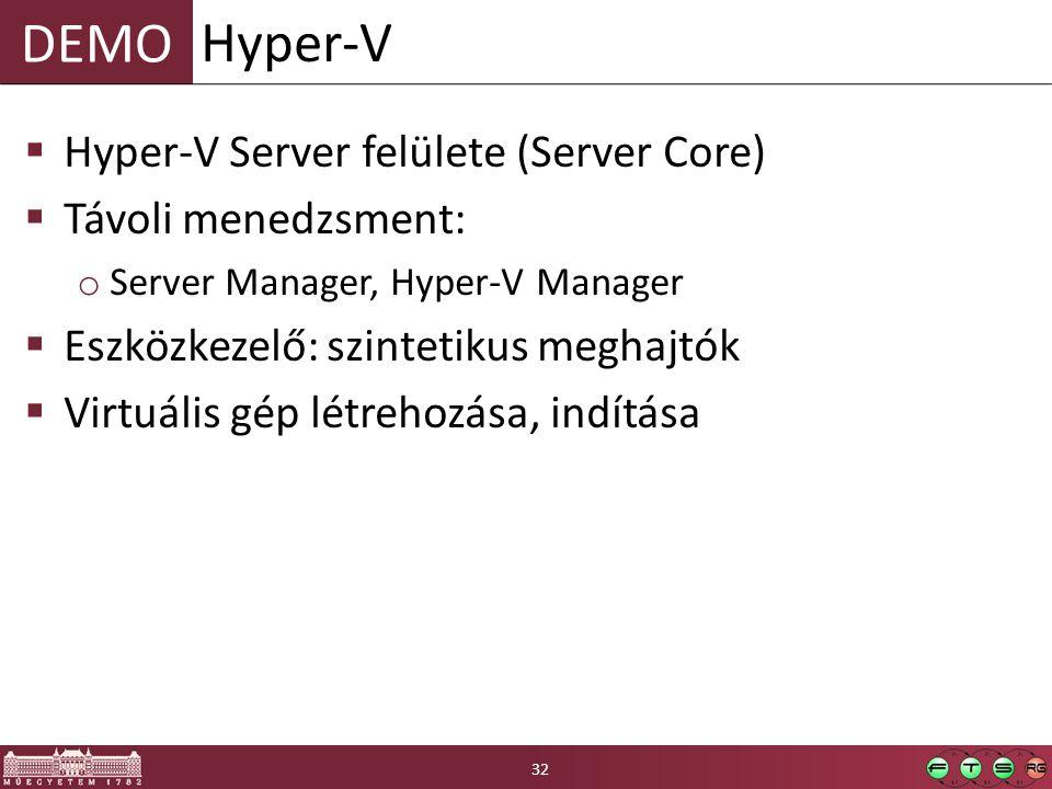 DEMO  Hyper-V Server felülete (Server Core)  Távoli menedzsment: o Server Manager, Hyper-V Manager  Eszközkezelő: szintetikus meghajtók  Virtuális