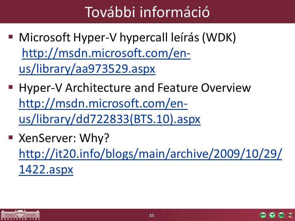 További információ  Microsoft Hyper-V hypercall leírás (WDK) http://msdn.microsoft.com/en- us/library/aa973529.aspxhttp://msdn.microsoft.com/en- us/l