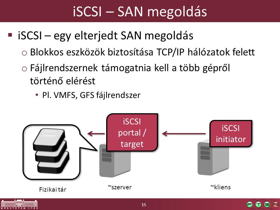 iSCSI – SAN megoldás  iSCSI – egy elterjedt SAN megoldás o Blokkos eszközök biztosítása TCP/IP hálózatok felett o Fájlrendszernek támogatnia kell a több gépről történő elérést Pl.