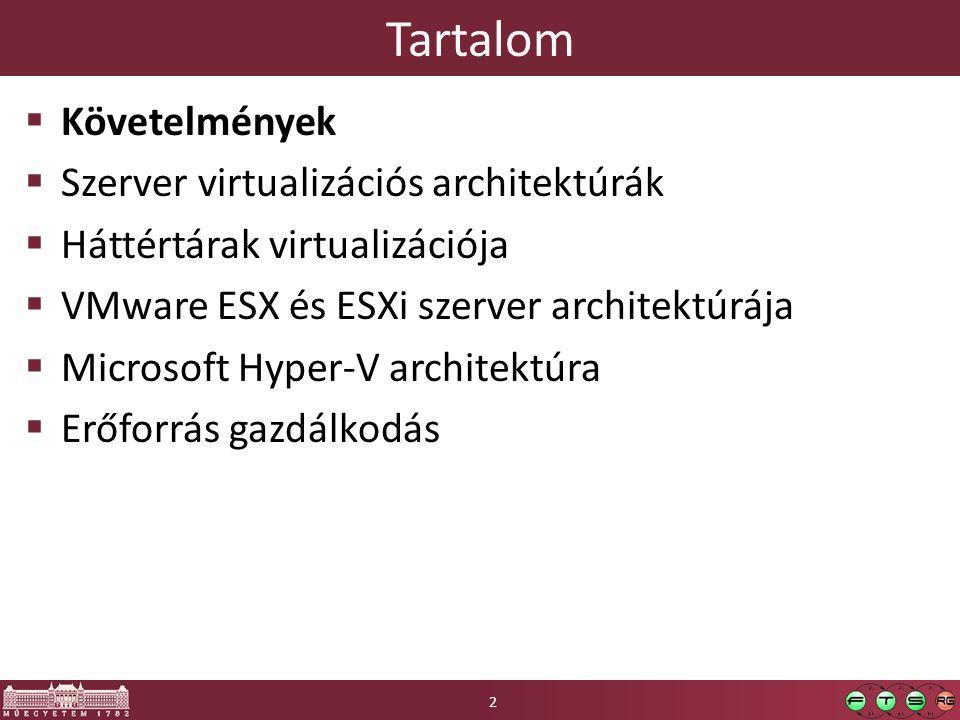 Tartalom  Követelmények  Szerver virtualizációs architektúrák  Háttértárak virtualizációja  VMware ESX és ESXi szerver architektúrája  Microsoft Hyper-V architektúra  Erőforrás gazdálkodás 23