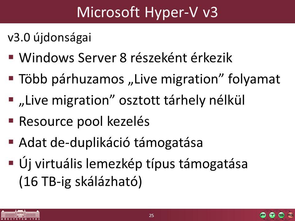 """Microsoft Hyper-V v3 v3.0 újdonságai  Windows Server 8 részeként érkezik  Több párhuzamos """"Live migration folyamat  """"Live migration osztott tárhely nélkül  Resource pool kezelés  Adat de-duplikáció támogatása  Új virtuális lemezkép típus támogatása (16 TB-ig skálázható) 25"""