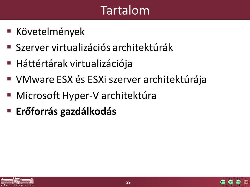 Tartalom  Követelmények  Szerver virtualizációs architektúrák  Háttértárak virtualizációja  VMware ESX és ESXi szerver architektúrája  Microsoft Hyper-V architektúra  Erőforrás gazdálkodás 29