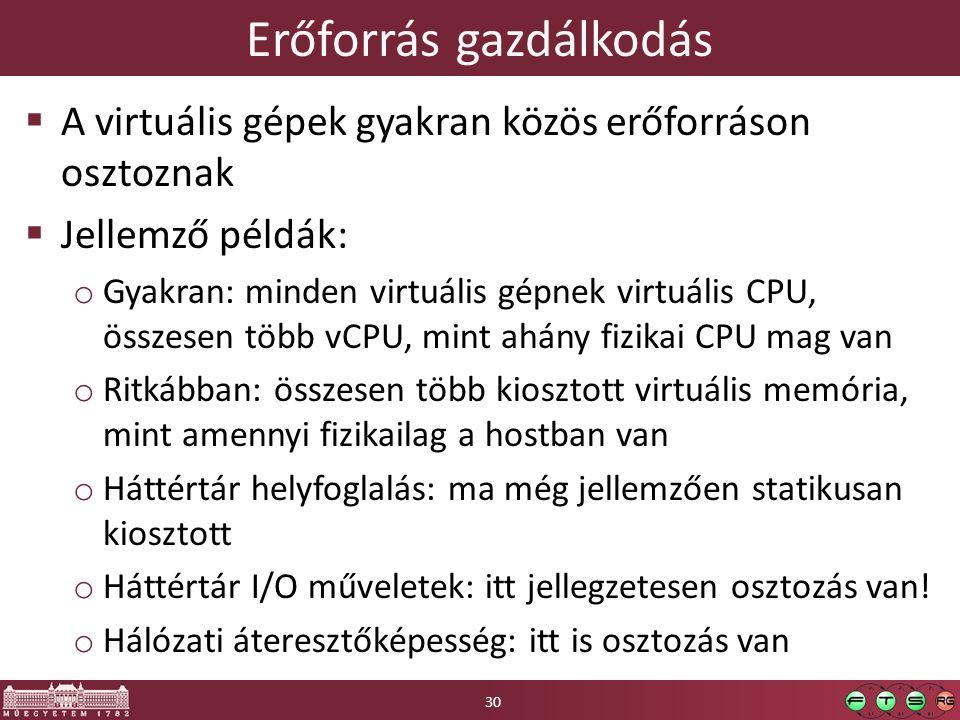 Erőforrás gazdálkodás  A virtuális gépek gyakran közös erőforráson osztoznak  Jellemző példák: o Gyakran: minden virtuális gépnek virtuális CPU, összesen több vCPU, mint ahány fizikai CPU mag van o Ritkábban: összesen több kiosztott virtuális memória, mint amennyi fizikailag a hostban van o Háttértár helyfoglalás: ma még jellemzően statikusan kiosztott o Háttértár I/O műveletek: itt jellegzetesen osztozás van.