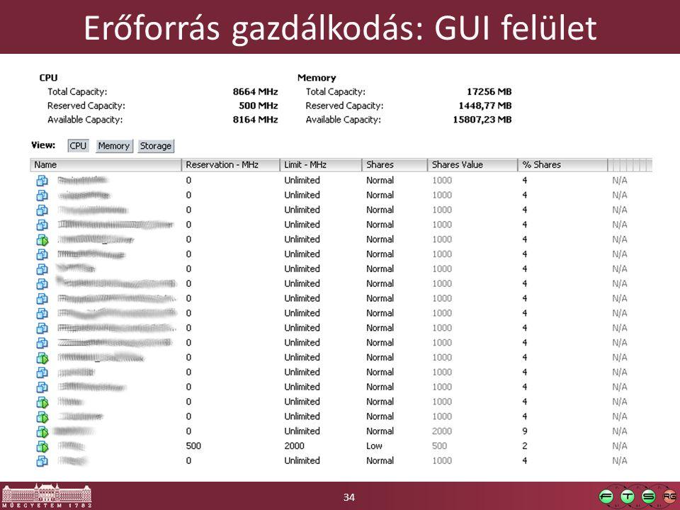 Erőforrás gazdálkodás: GUI felület 34