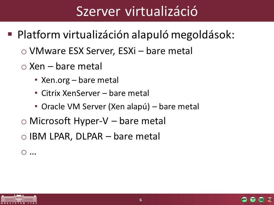 Alkalmazások Guest OS VMware ESX architektúrája Hardver (x86 CPU, SCSI, Ethernet) VMkernel COS (Linux 2.4) COS (Linux 2.4) Service Console (Tomcat, SSH...) Driver Worlds Helper Worlds Alkalmazások 17