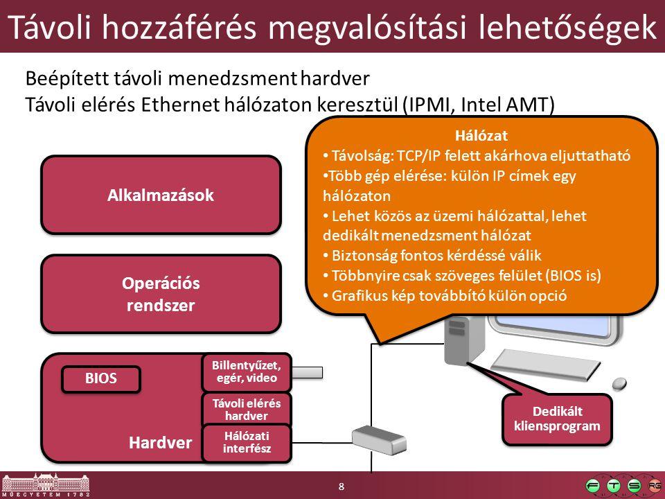 Távoli hozzáférés megvalósítási lehetőségek Hardver BIOS Operációs rendszer Alkalmazások Billentyűzet, egér, video Billentyűzet, egér, video Beépített távoli menedzsment hardver Távoli elérés Ethernet hálózaton keresztül (IPMI, Intel AMT) Távoli elérés hardver Hálózat Távolság: TCP/IP felett akárhova eljuttatható Több gép elérése: külön IP címek egy hálózaton Lehet közös az üzemi hálózattal, lehet dedikált menedzsment hálózat Biztonság fontos kérdéssé válik Többnyire csak szöveges felület (BIOS is) Grafikus kép továbbító külön opció Hálózat Távolság: TCP/IP felett akárhova eljuttatható Több gép elérése: külön IP címek egy hálózaton Lehet közös az üzemi hálózattal, lehet dedikált menedzsment hálózat Biztonság fontos kérdéssé válik Többnyire csak szöveges felület (BIOS is) Grafikus kép továbbító külön opció Dedikált kliensprogram Hálózati interfész 8
