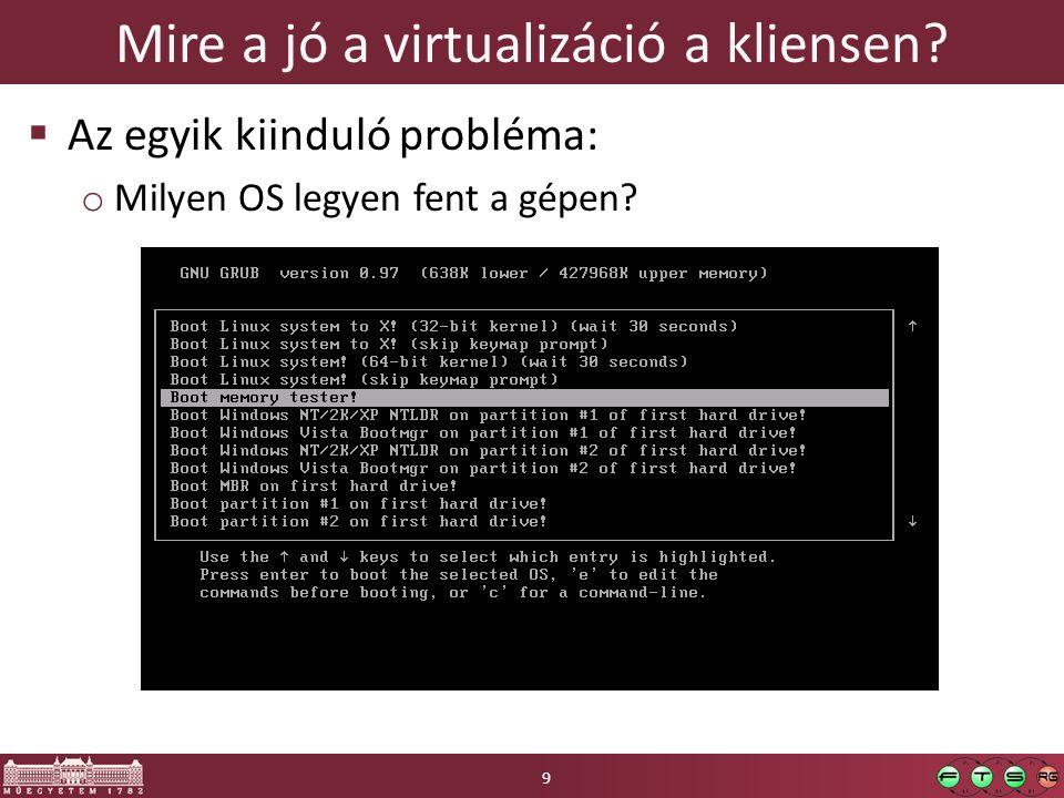 Klónok háborúja  Cél: az alap OS-t csak egyszer kelljen tárolni  Technológia o VMware: Linked clones használata o Virtual PC: differentiating disk  Előnyök / hátrányok 30