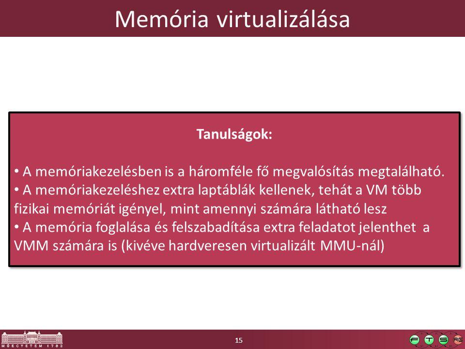 Memória virtualizálása 15 Tanulságok: A memóriakezelésben is a háromféle fő megvalósítás megtalálható. A memóriakezeléshez extra laptáblák kellenek, t
