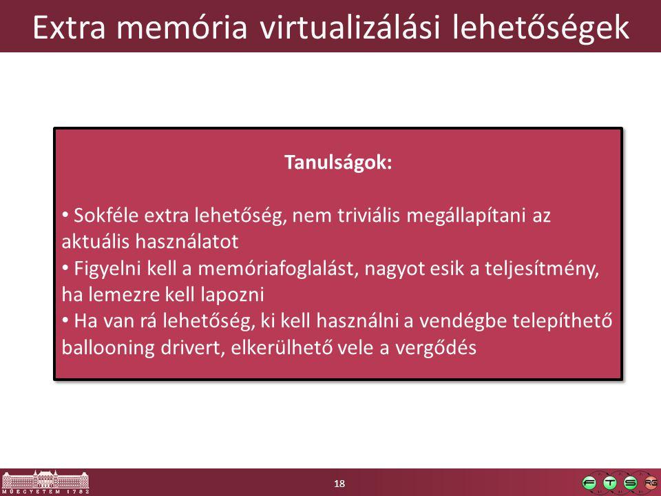 Extra memória virtualizálási lehetőségek 18 Tanulságok: Sokféle extra lehetőség, nem triviális megállapítani az aktuális használatot Figyelni kell a m