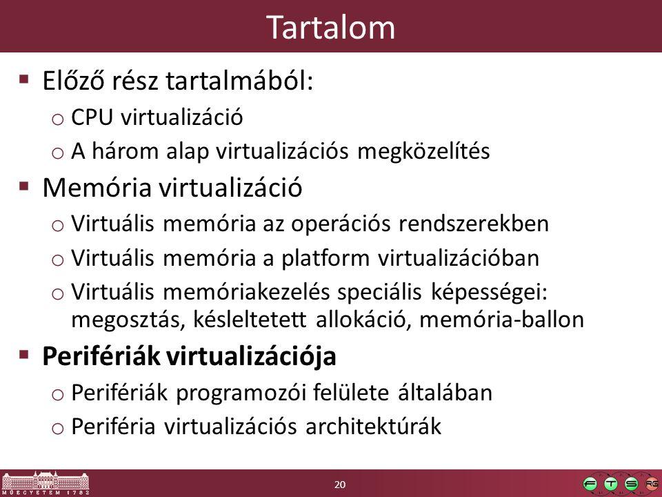 Tartalom  Előző rész tartalmából: o CPU virtualizáció o A három alap virtualizációs megközelítés  Memória virtualizáció o Virtuális memória az operációs rendszerekben o Virtuális memória a platform virtualizációban o Virtuális memóriakezelés speciális képességei: megosztás, késleltetett allokáció, memória-ballon  Perifériák virtualizációja o Perifériák programozói felülete általában o Periféria virtualizációs architektúrák 20