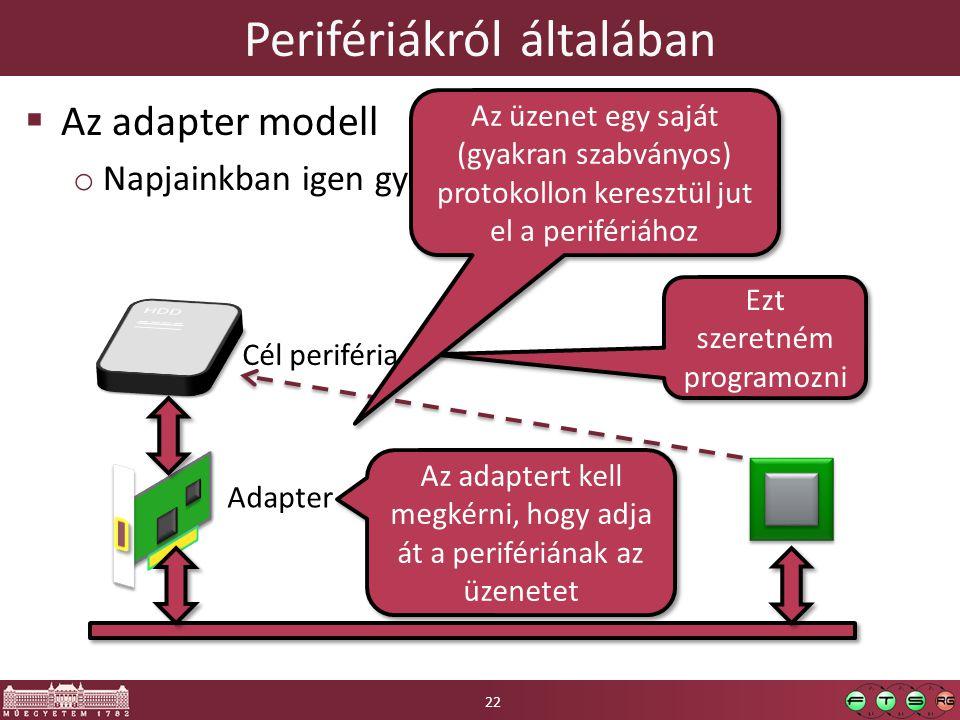 Perifériákról általában  Az adapter modell o Napjainkban igen gyakori Adapter Cél periféria Ezt szeretném programozni Az adaptert kell megkérni, hogy adja át a perifériának az üzenetet Az üzenet egy saját (gyakran szabványos) protokollon keresztül jut el a perifériához 22