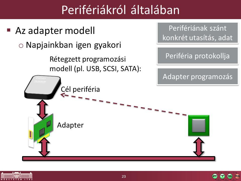 Perifériákról általában  Az adapter modell o Napjainkban igen gyakori Adapter Cél periféria Adapter programozás Periféria protokollja Perifériának szánt konkrét utasítás, adat Rétegzett programozási modell (pl.