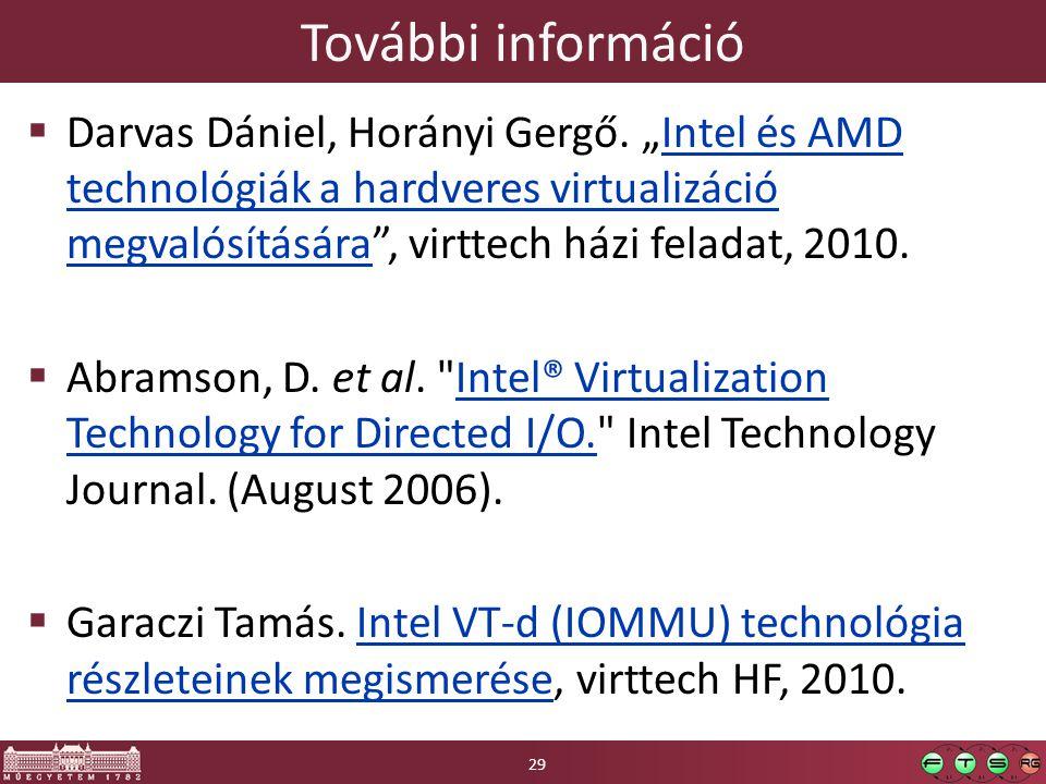 """További információ  Darvas Dániel, Horányi Gergő. """"Intel és AMD technológiák a hardveres virtualizáció megvalósítására"""", virttech házi feladat, 2010."""