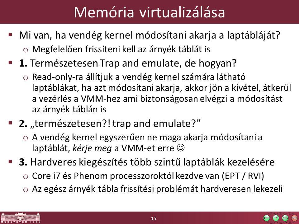 Memória virtualizálása  Mi van, ha vendég kernel módosítani akarja a laptábláját? o Megfelelően frissíteni kell az árnyék táblát is  1. Természetese