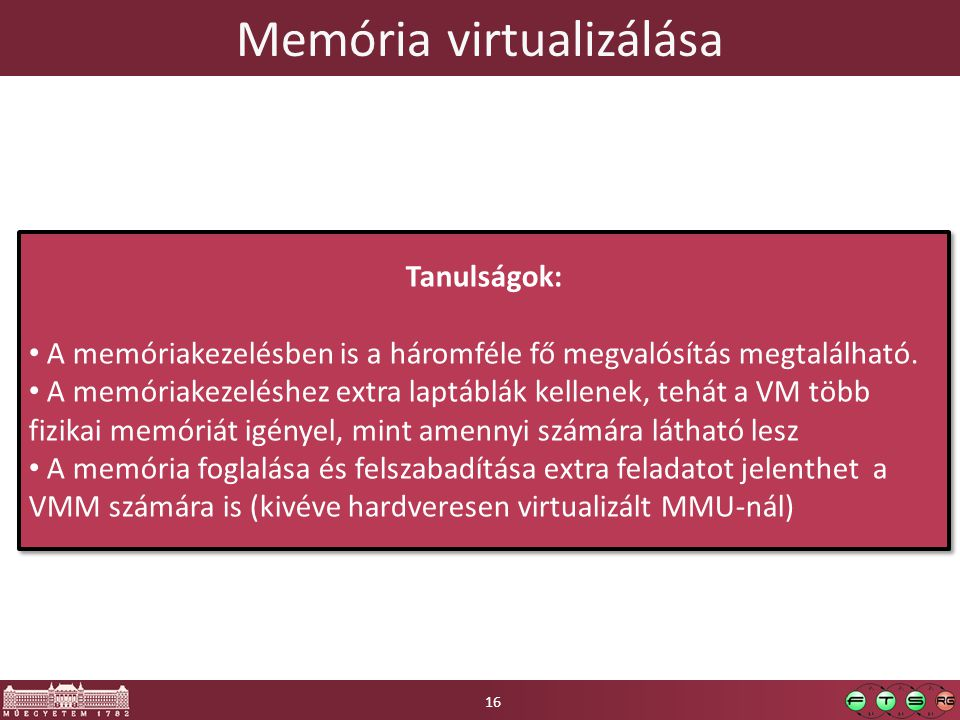 Memória virtualizálása 16 Tanulságok: A memóriakezelésben is a háromféle fő megvalósítás megtalálható. A memóriakezeléshez extra laptáblák kellenek, t