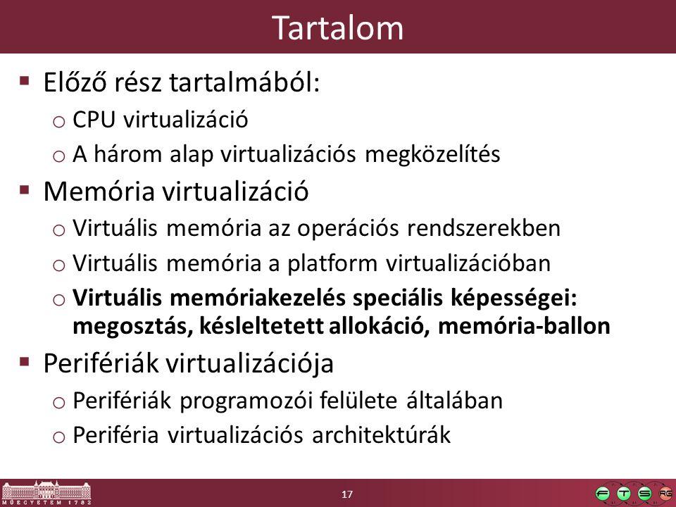 Tartalom  Előző rész tartalmából: o CPU virtualizáció o A három alap virtualizációs megközelítés  Memória virtualizáció o Virtuális memória az operá