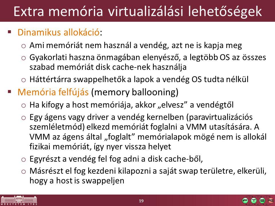 Extra memória virtualizálási lehetőségek  Dinamikus allokáció: o Ami memóriát nem használ a vendég, azt ne is kapja meg o Gyakorlati haszna önmagában