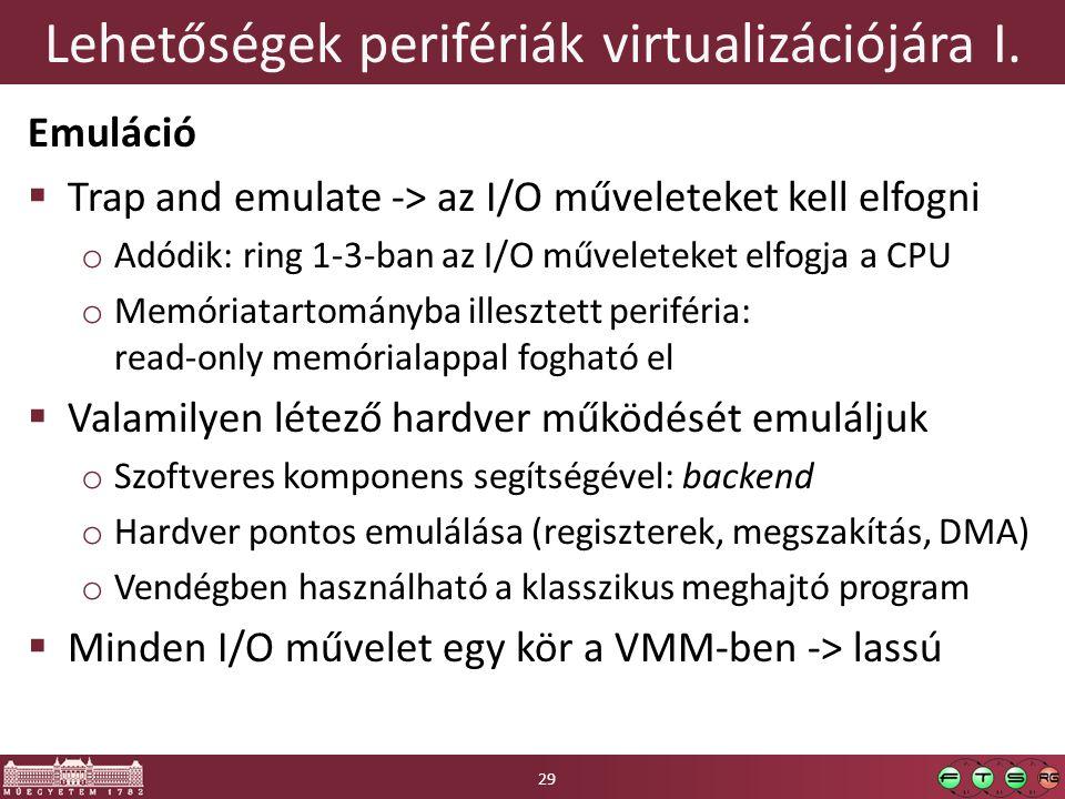 Lehetőségek perifériák virtualizációjára I. Emuláció  Trap and emulate -> az I/O műveleteket kell elfogni o Adódik: ring 1-3-ban az I/O műveleteket e