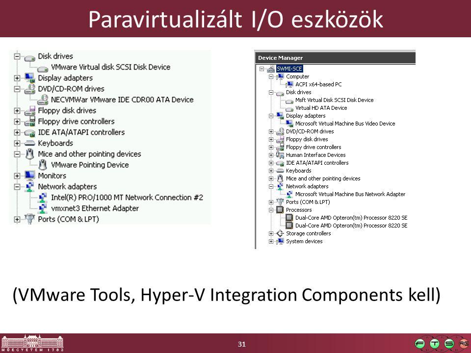 Paravirtualizált I/O eszközök (VMware Tools, Hyper-V Integration Components kell) 31