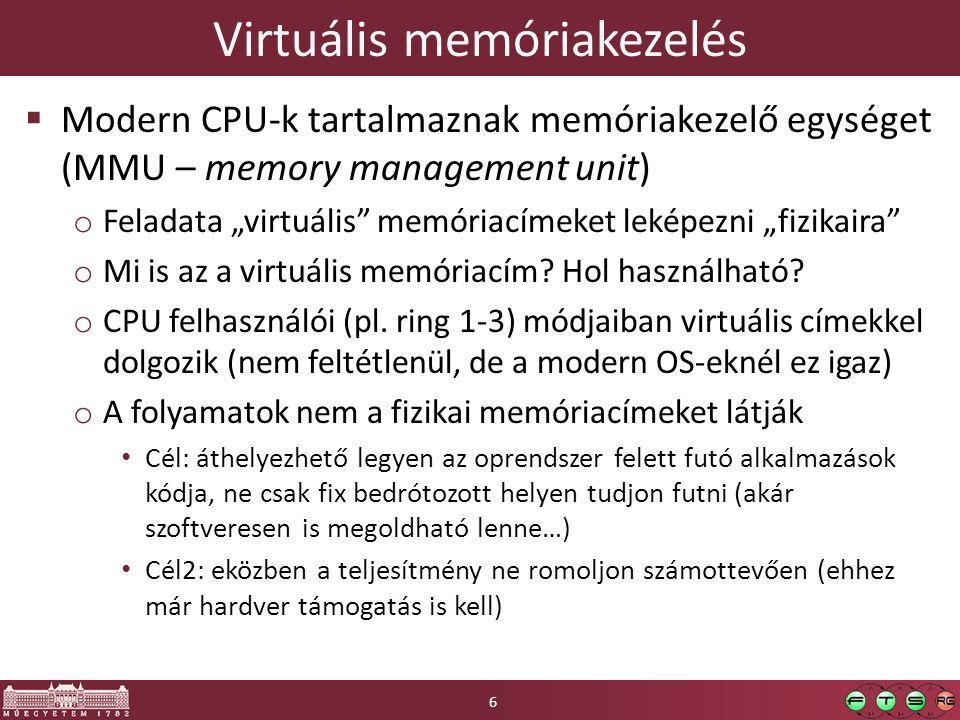 Tartalom  Előző rész tartalmából: o CPU virtualizáció o A három alap virtualizációs megközelítés  Memória virtualizáció o Virtuális memória az operációs rendszerekben o Virtuális memória a platform virtualizációban o Virtuális memóriakezelés speciális képességei: megosztás, késleltetett allokáció, memória-ballon  Perifériák virtualizációja o Perifériák programozói felülete általában o Periféria virtualizációs architektúrák 27
