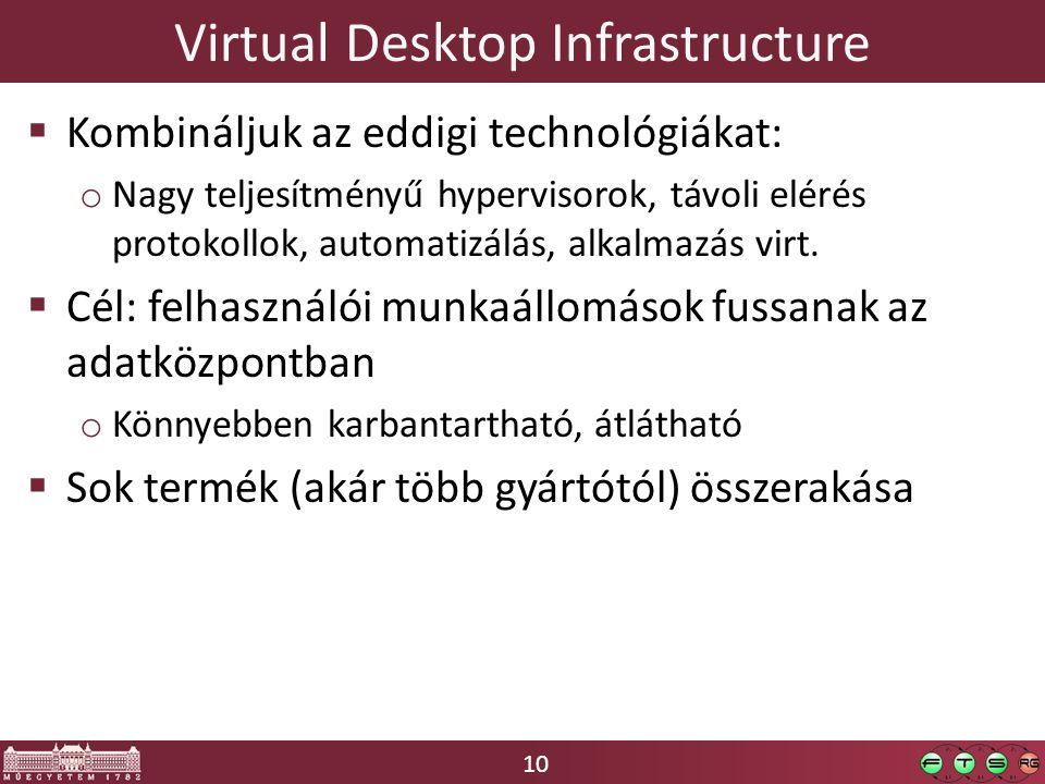 10 Virtual Desktop Infrastructure  Kombináljuk az eddigi technológiákat: o Nagy teljesítményű hypervisorok, távoli elérés protokollok, automatizálás, alkalmazás virt.