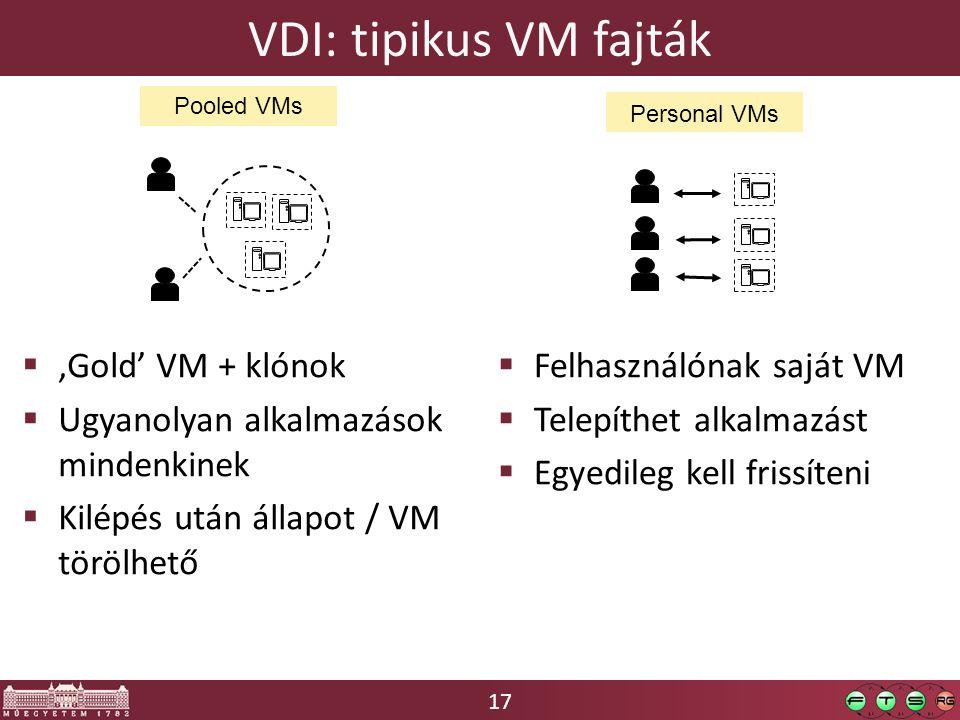 17 VDI: tipikus VM fajták  'Gold' VM + klónok  Ugyanolyan alkalmazások mindenkinek  Kilépés után állapot / VM törölhető  Felhasználónak saját VM  Telepíthet alkalmazást  Egyedileg kell frissíteni Pooled VMs Personal VMs