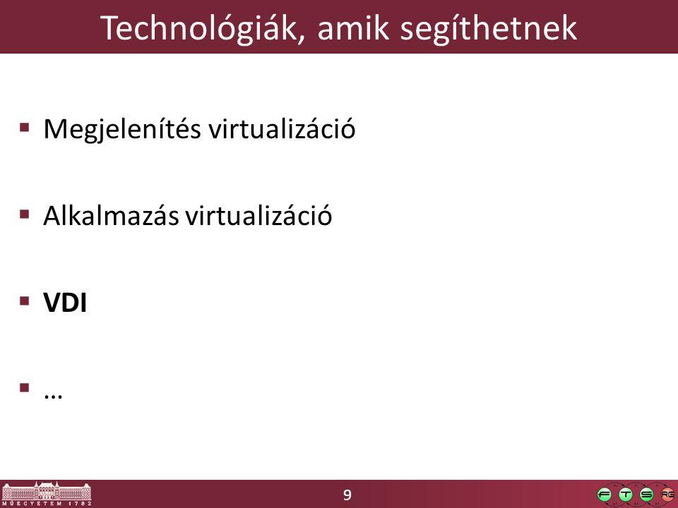 9 Technológiák, amik segíthetnek  Megjelenítés virtualizáció  Alkalmazás virtualizáció  VDI  …
