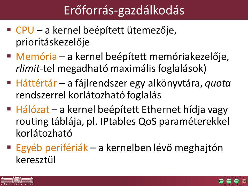 Erőforrás-gazdálkodás  CPU – a kernel beépített ütemezője, prioritáskezelője  Memória – a kernel beépített memóriakezelője, rlimit-tel megadható maximális foglalások)  Háttértár – a fájlrendszer egy alkönyvtára, quota rendszerrel korlátozható foglalás  Hálózat – a kernel beépített Ethernet hídja vagy routing táblája, pl.