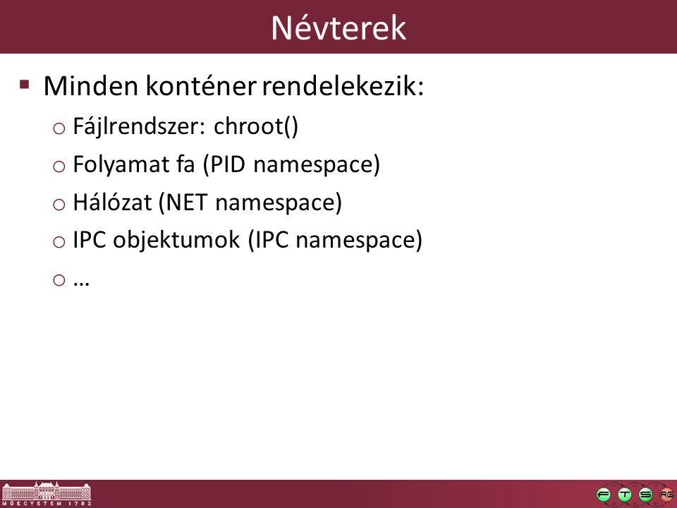 Névterek  Minden konténer rendelekezik: o Fájlrendszer: chroot() o Folyamat fa (PID namespace) o Hálózat (NET namespace) o IPC objektumok (IPC namespace) o …