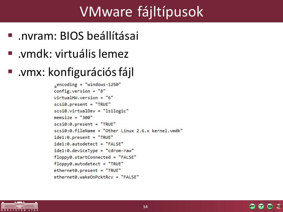 VMware fájltípusok .nvram: BIOS beállításai .vmdk: virtuális lemez .vmx: konfigurációs fájl 14