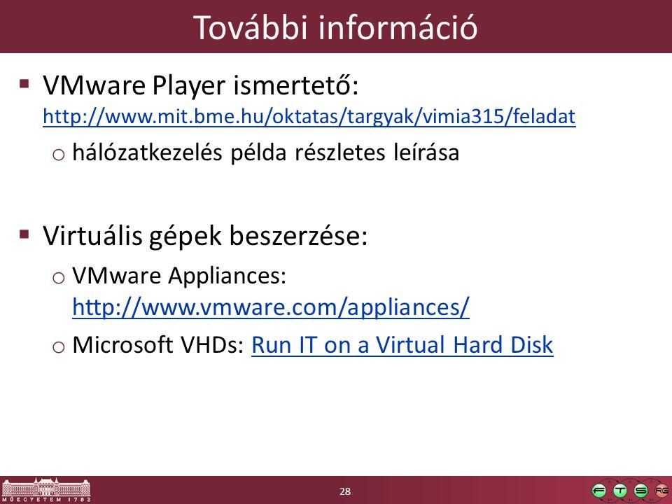 További információ  VMware Player ismertető: http://www.mit.bme.hu/oktatas/targyak/vimia315/feladat http://www.mit.bme.hu/oktatas/targyak/vimia315/feladat o hálózatkezelés példa részletes leírása  Virtuális gépek beszerzése: o VMware Appliances: http://www.vmware.com/appliances/ http://www.vmware.com/appliances/ o Microsoft VHDs: Run IT on a Virtual Hard DiskRun IT on a Virtual Hard Disk 28