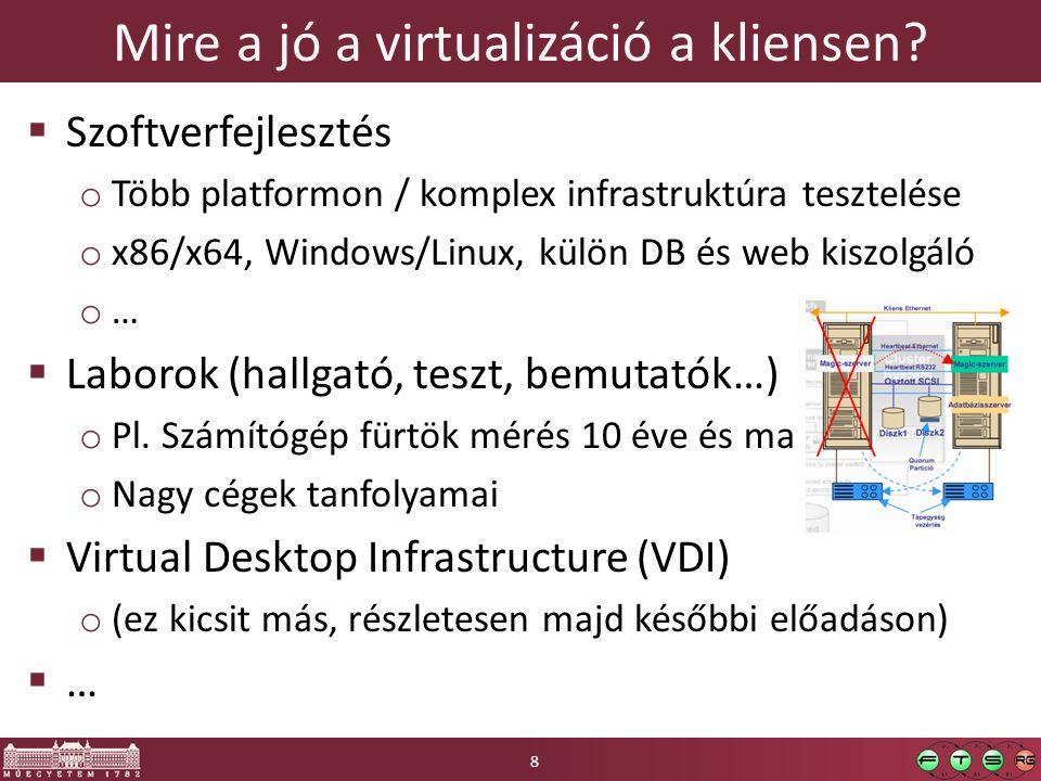 Seamless window mode  VM-ben futó alkalmazás megjelenítése a gazdagépen  (VMware – Unity, Parallels – Coherence, VirtualBox – Seamless application…)  Működés: távoli elérési protokoll használata  VMware: beépített VNC szerver  MS Virtual PC: RDP 6.0RDP 6.0  Kézzel: seamlessrdp (rdesktop kiegészítés)seamlessrdp 9