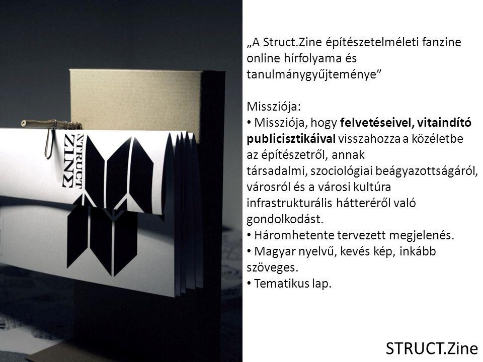 Második szám: Kohout Dávid Bontatlan irodák című tanulmánya olvasható STRUCT.Zine Első szám: RE.Struct Harmadik szám: egy észtországi városi intervencionista művészeti projekten keresztül próbálja bemutatni a neoliberális várostervezés hátulütőit, és a lehetséges ellenállási formákat