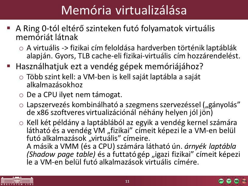 Memória virtualizálása  A Ring 0-tól eltérő szinteken futó folyamatok virtuális memóriát látnak o A virtuális -> fizikai cím feloldása hardverben történik laptáblák alapján.