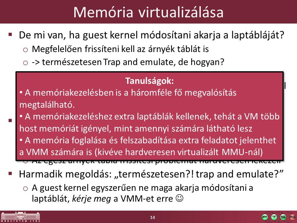 Memória virtualizálása  De mi van, ha guest kernel módosítani akarja a laptábláját.