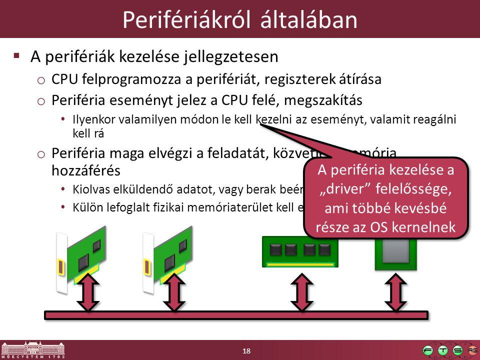 """Perifériákról általában  A perifériák kezelése jellegzetesen o CPU felprogramozza a perifériát, regiszterek átírása o Periféria eseményt jelez a CPU felé, megszakítás Ilyenkor valamilyen módon le kell kezelni az eseményt, valamit reagálni kell rá o Periféria maga elvégzi a feladatát, közvetlen memória hozzáférés Kiolvas elküldendő adatot, vagy berak beérkező adatot a memóriába Külön lefoglalt fizikai memóriaterület kell erre a célra A periféria kezelése a """"driver felelőssége, ami többé kevésbé része az OS kernelnek 18"""